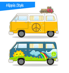 Retro styled hippie van vector