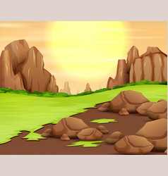 Rocky mountain panorama with sun shine in vector