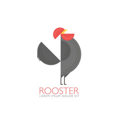 Rooster and cock flat design style template of vector