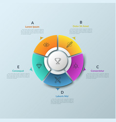 Round diagram divided into 5 colorful pieces and vector