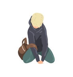 sad teen boy sitting on floor depressed lonely vector image