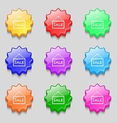 Sale tag icon sign symbols on nine wavy colourful vector