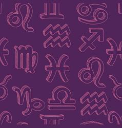 Seamless pattern sketch zodiac signs vector