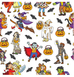 seamless pattern with characters and halloween vector image