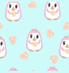 seamless pattern with penguins in pastel colors vector image