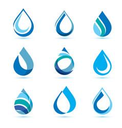 Set abstract blue water drops symbols logo vector