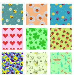 set cute seamless patterns for scrabbooking vector image
