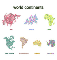 Set monochrome icons with world continents vector