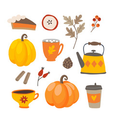 Set of cute cartoon thanksgiving day icons with vector