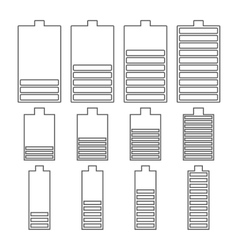 Set of linear battery icons vector image