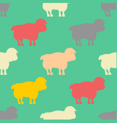 Sheep pattern ewe ornament flock of sheeps farm vector