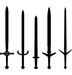 silhouettes medieval swords vector image