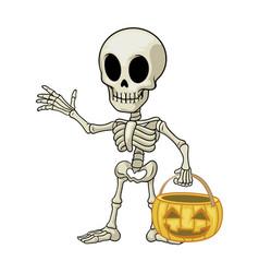 skeleton cartoon mascot hold halloween pumpkin vector image