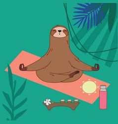 Sloth character meditation and tea vector