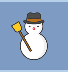snowman filled outline icon for christmas theme vector image