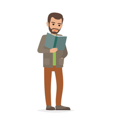 Student standing and reading textbook flat vector