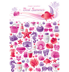 summer sea travel banner pattern repeat wallpaper vector image