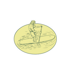 Surfer dude stand up paddle oval drawing vector