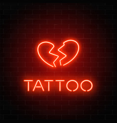 Tattoo parlor glowing neon signboard with emblem vector