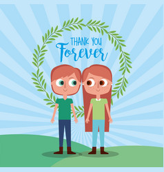Thank forever brother and sister floral wreath vector