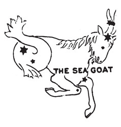 The sea goat vintage vector