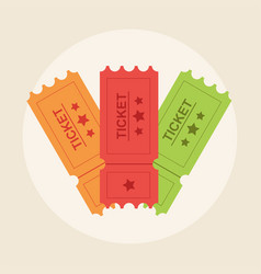ticket in flat style retro cinema ticket icon vector image