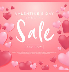 valentines day sale background with heart balloon vector image