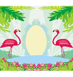 vintage frame - green palms and pink flamingo vector image vector image