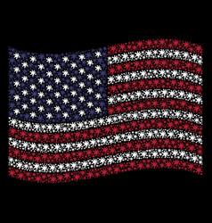 waving united states flag stylization of blot vector image