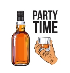 Whiskey bottle and hand holding full shot glass vector image vector image