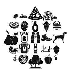 wildlife icons set simple style vector image