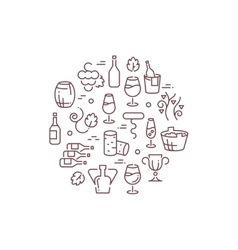 Wine logo with outline icons vector