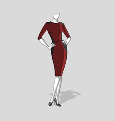 Woman in a dark red dress vector
