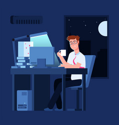 Work late concept man at night in office with vector