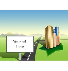 Copy space on billboard cityscape road mountains vector