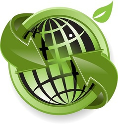 globe and green arrows vector image vector image