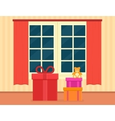 holiday gift on living room vector image vector image