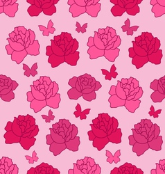 Seamless Texture with flowers Roses and vector image vector image