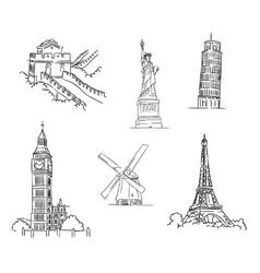Set of famous world landmarks vector image