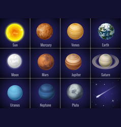 solar system planets on black background isolated vector image