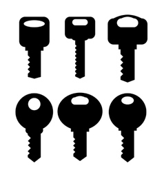 Keys Silhouettes Icons vector image