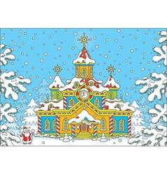 Santa claus house vector