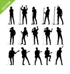 Singer and musicians silhouettes vector image vector image
