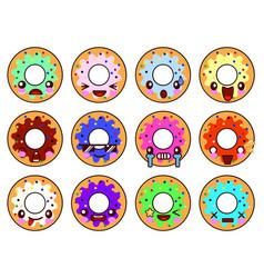 sweet donut character kawaii with glaze set of vector image