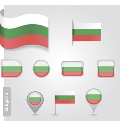 The Bulgarian flag - set of icons and flags vector image