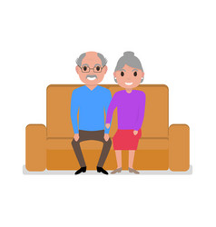 cartoon grandparents sitting on the couch vector image vector image
