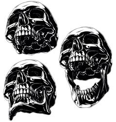 High detailed cool black human skull set vector image