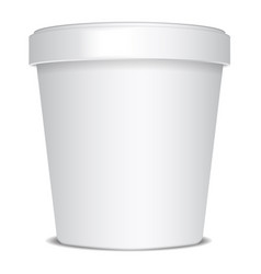 plastic or paper bucket food tub container for ice vector image