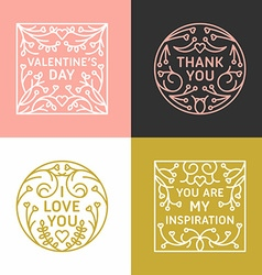 Set of Decorative Floral Frames with Greeting Text vector image