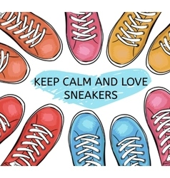 Summer trendy sports shoes Collection of colorful vector image vector image